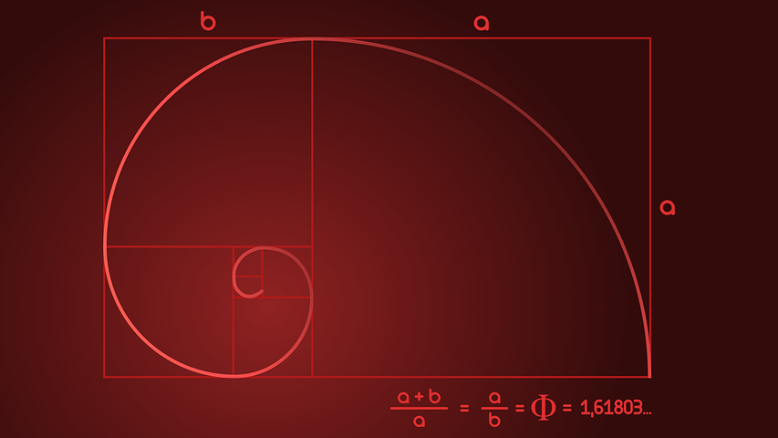Red Fibonacci spiral